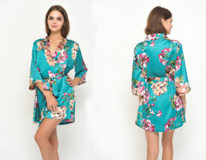 Green-floral-bird-satin-robes-without-lace