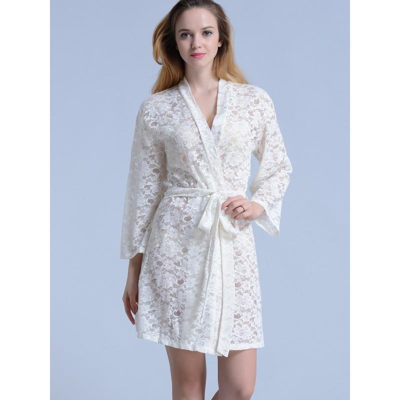 bridal white lace kimono robes
