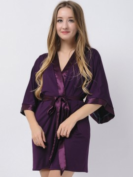 Eggplant Jersey Stretchy Robes With Satin Trim Purple Robes Bridesmaid Robes Modal Bridal Party Gifts Maternity Robe Bridal Robes