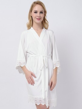 Ivory Stretchy Jersey White Robe Bridesmaid Gifts Cheap Modal Bridal Robes