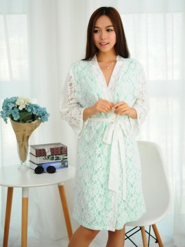 Bridal robe kimono robes white lace outer with a mint green cotton lining