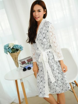 Bridal robe kimono robes white lace outer with a navy blue cotton lining