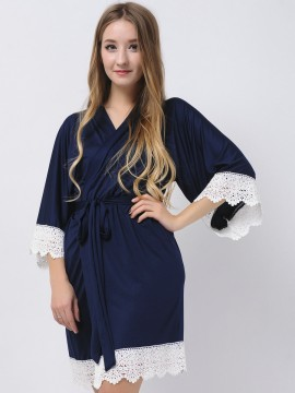 Navy Blue Stretchy Jersey Robes Bridesmaid Robes Kimono Robes Modal Maid Of Honor Robes