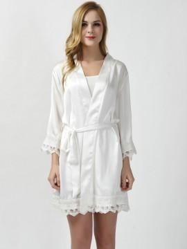 Satin white  kimono robes bride robes