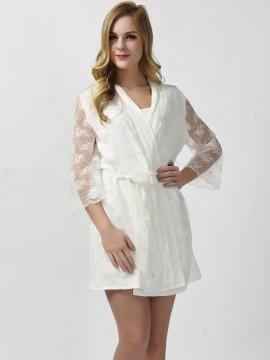 Lace white kimono robes brides robes