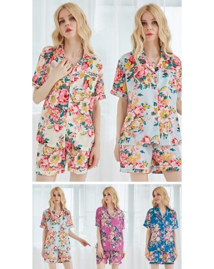 Chiffon Floral Personalized Pajamas PJ Sets Bridesmaid Gifts