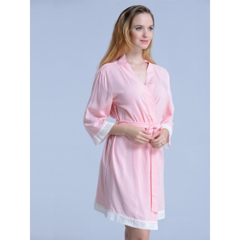 Bridesmaid gift embroidered blush pink kimono robes-Lace A e44add120