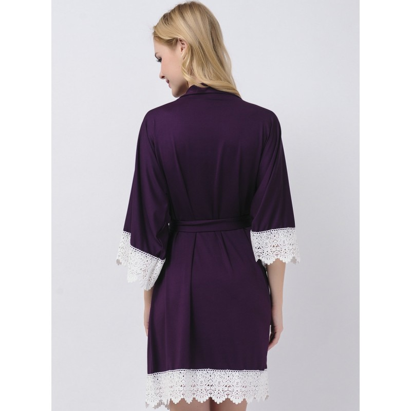 Eggplant Jersey Stretchy Robes Bridesmaid Gifts Purple Bridesmaid