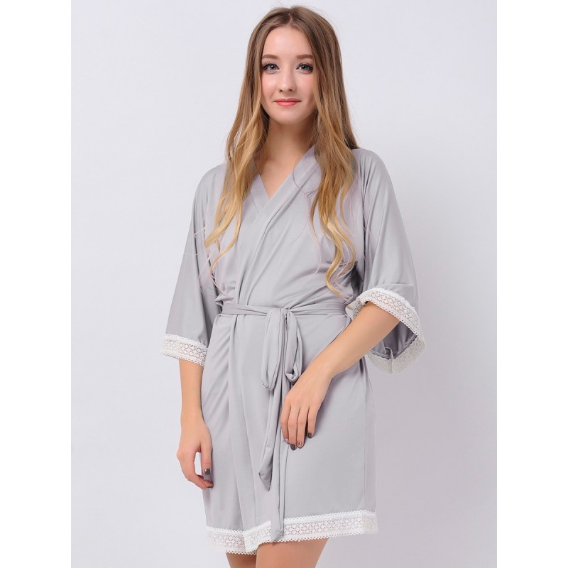 Gray Jersey Stretchy Kimono Robes Cute Robes Bridesmaid