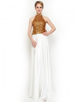 Gold Bling Crop Top & Gracele Long Chiffon Skirt bridesmaid dresses / Prom Dress