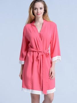 Coral Pink bridesmaid robe - Lace A