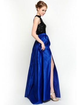 Bling Crop Top & Roialit Long Skirt With Slit Two piece Prom Dress / bridesmaid dresses