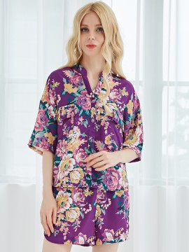Plum Women's Pajama Set Chiffon Sleepwear