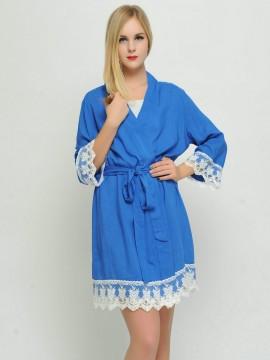 Bridesmaid gift cobalt kimono robes-Lace B