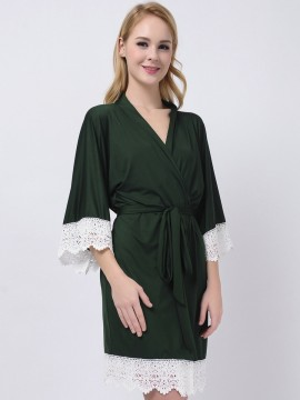 Forest Green Jersey Stretchy Kimono Robes Bridesmaid Gifts Bridesmaid Robes Wedding Gifts Inexpensive Bridesmaid Robes Modal