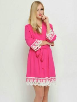 Bridesmaid gift fushsia kimono robes-Lace B