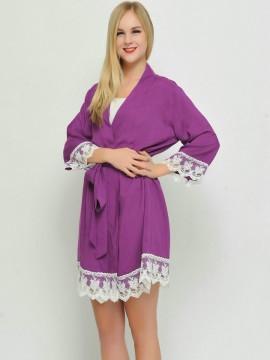 Bridesmaid gift grape kimono robes-Lace B