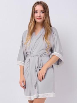Gray Jersey Stretchy Kimono Robes Cute Robes Bridesmaid Gifts Bridesmaid Robes Wedding Gifts Inexpensive Modal