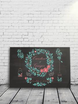 Love Leaves Alternative Wedding Guest Book Black background
