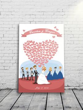 Couple and heart balloon Alternative Wedding Guest Book