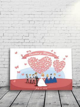 Couple and heart balloon Alternative Wedding Guest Book (style-2)