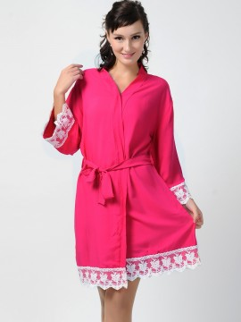 Bridesmaid gift embroidered hot pink kimono robes- Lace B