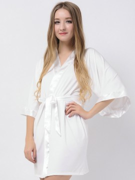 Ivory Jersey Stretchy Robes With Satin Trim Cheap Bridesmaid Robes Wedding Robes Modal Bride Robe