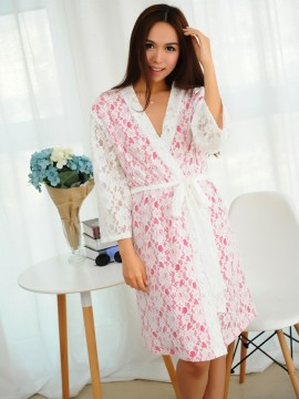 Bridal robe kimono robes white lace outer with a hot pink cotton lining