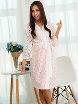 Bridal robe kimono robes white lace outer with a pink cotton lining