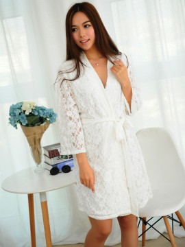 Bridal robe kimono robes white lace outer with a white cotton lining