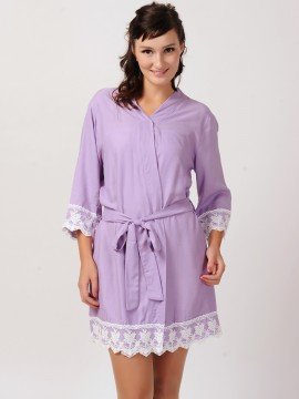 Bridesmaid gift monogrammed lavender kimono robes-Lace B
