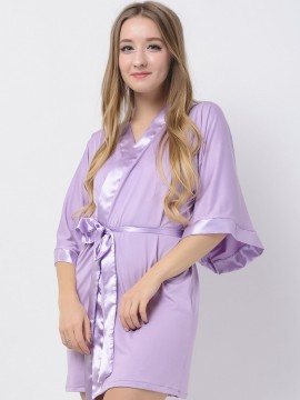 Lavender Jersey Stretchy Robes With Satin Trim Purple Robes Cheap Bridesmaid Robes Modal Wedding Robes