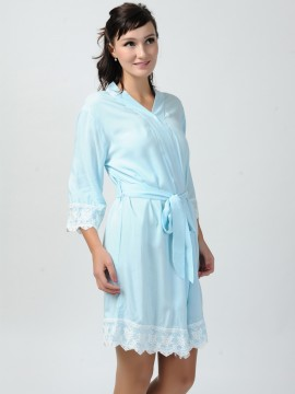 Bridesmaid gift monogrammed light blue kimono robes-Lace B