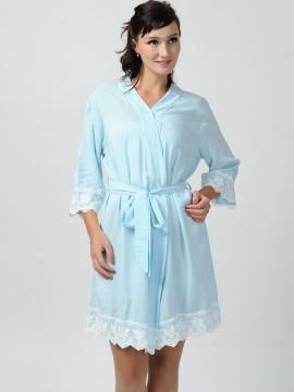 Bridesmaid gift light blue kimono robes-Lace B