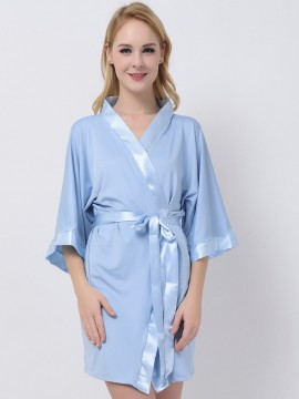 Light Blue Jersey Stretchy Robes With Satin Trim Cheap Bridesmaid Robes Maternity Robe Modal Bride Robe