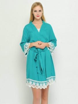 Bridesmaid gift medium teal kimono robes-Lace B