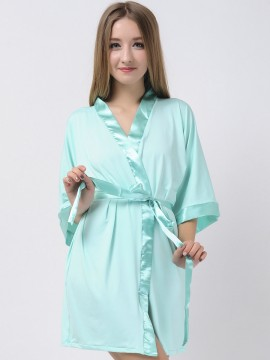 Mint Green Jersey Stretchy Robes With Satin Trim Bridesmaid Robes Cheap Robes Modal Maternity Robe Wedding Robes