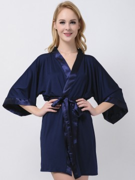 Navy Blue Jersey Stretchy Robes With Satin Trim Cheap Bridesmaid Robes Modal Wedding Robes White Satin Bridal