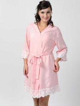 Bridesmaid gift pale pink kimono robes -Lace B