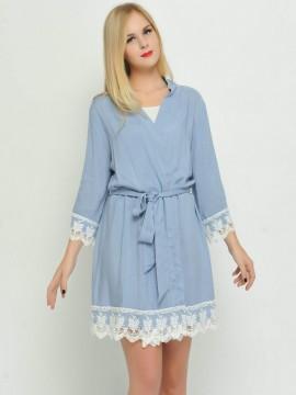 Bridesmaid gift periwinkle kimono robes-Lace B