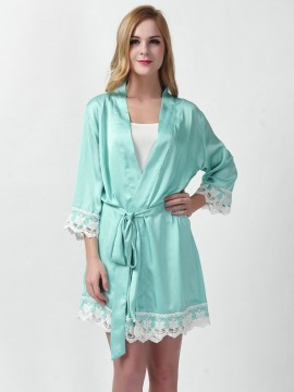 Satin aqua blue kimono robes bridesmaid robes