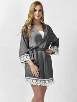 Satin charcoal gray kimono robes bridesmaid robes