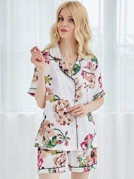 Satin White Bride Pajama Set Floral Bride Pajama