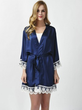 Satin navy blue kimono robes bridesmaid robes