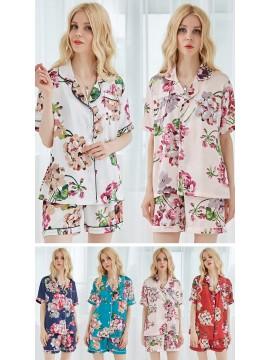 Set of Satin Pajama Set Bridesmaid PJ Set Satin Floral PJ