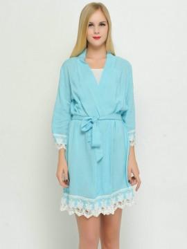 Bridesmaid gift sky blue kimono robes-Lace B
