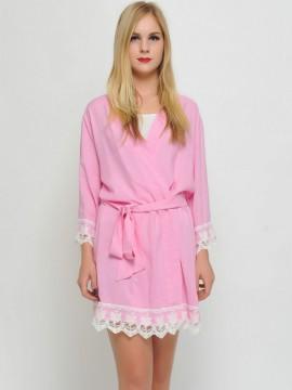 Bridesmaid gift soft pink kimono robes-Lace B
