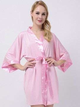 Soft Pink Jersey Stretchy Robes With Satin Trim Pink Robe Modal Bridesmaid Robes Cheap Bridesmaid Gifts Maternity Robe Bridal Robes