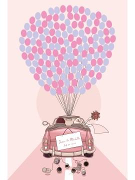 Wedding Car and Balloons Guestbook alternative