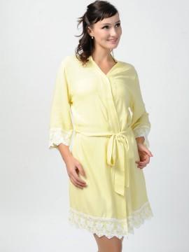 Bridesmaid gift light yellow kimono robes -Lace B